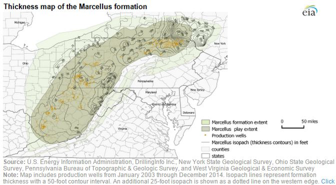 Thickness of the Marcellus Shale